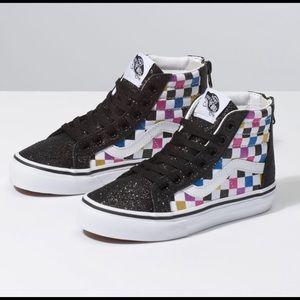 Vans unisex sparkle checker high tops